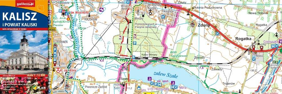 Okładka Mapa powiatu kaliskiego z planem Kalisza