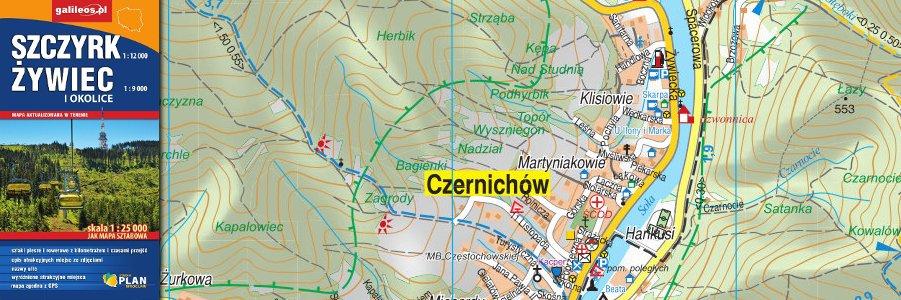 Okładka Mapa Szczyrk, Żywiec i okolice 1 : 25 000