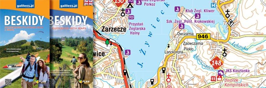 Okładka Beskidy przewodnik po atrakcjach z mapą
