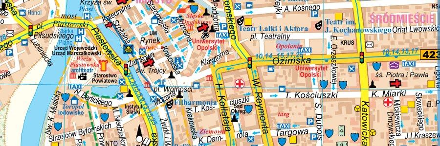 Okładka Ścienna mapa Opola w nowych granicach administracyjnych